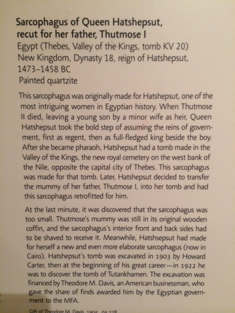 Hatshepsut in Pharoah's Secret and at the Boston Museum of Fine Arts
