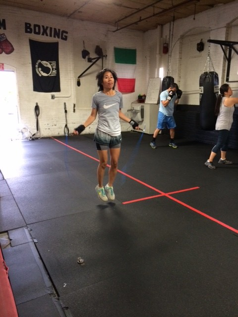 jumping rope at Nonantum Boxing Club and incontinence