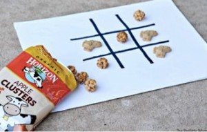 Horizon Organic snacks as game pieces for tic tac toe
