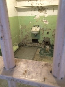Alcatraz prison cell with toilet