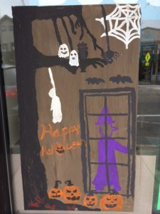 Halloween window painting Newton MA