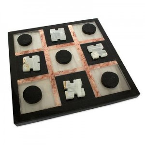 Marble Tic Tac Toe Board Game from Mexico, 'Rose on Black'