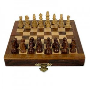 Unique Wood Chess Set from India, 'Strategic Alliance'