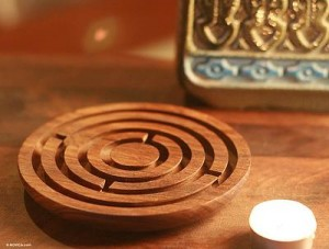 Fair Trade Wood Maze Game Carved by Hand, 'Labyrinth Intrigue'