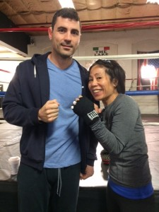 boxing training for Haymakers for Hope with Marc Gargaro at Nonantum Boxing Club