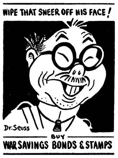 Dr. Seuss World War II racist cartoons against Japanese Americans