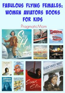 female aviator pilot flying books for kids