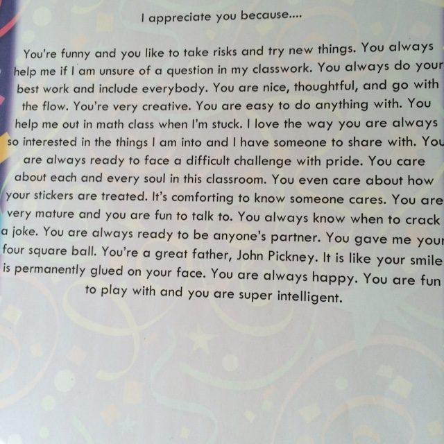 I Appreciate You: 5th Grade Student Gift Idea