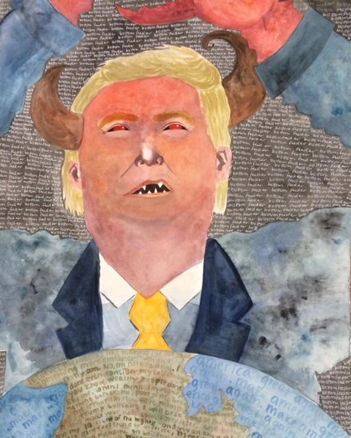 #NeverTrump Trump as bottom feeder by Zoe Lee painting