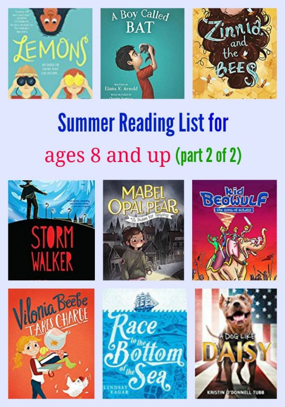 Summer Reading List for ages 8 and up (part 2 of 2)