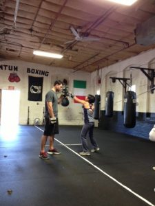 Mia Wenjen PragmaticMom boxing at Nonantum Boxing Club