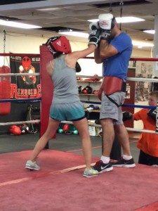 Mia Wenjen sparring at Nonantum Boxing Club with Marc Gargaro