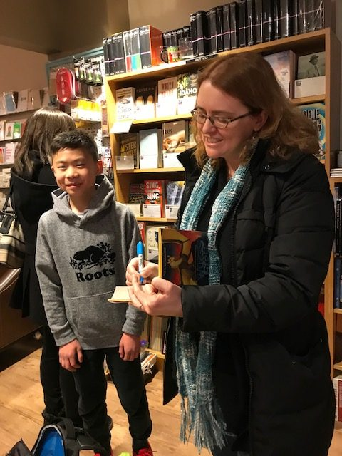Tai with Tui T. Sutherland at Newtonville Books