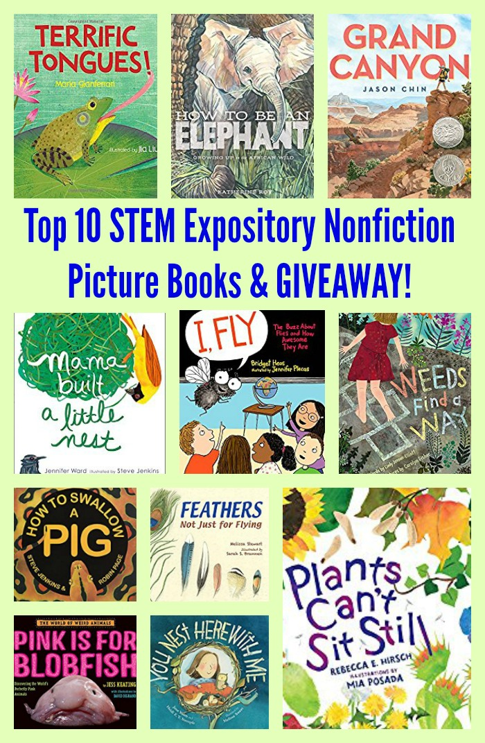Top 10 STEM Expository Nonfiction Picture Books & GIVEAWAY!