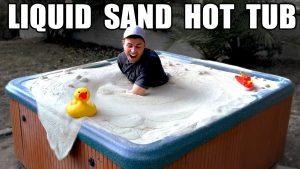 Liquid sand hot tub with Mark Rober, NASA engineer