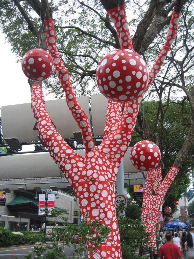 Yayoi Kusama, Yayoi Kusama's Ascension of Polka Dots on the Trees at the Singapore Biennale 2006 on Orchard Road, Singapore