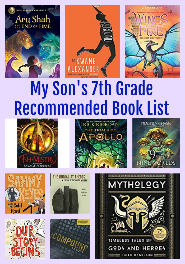 My Son's 7th Grade Recommended Reading List