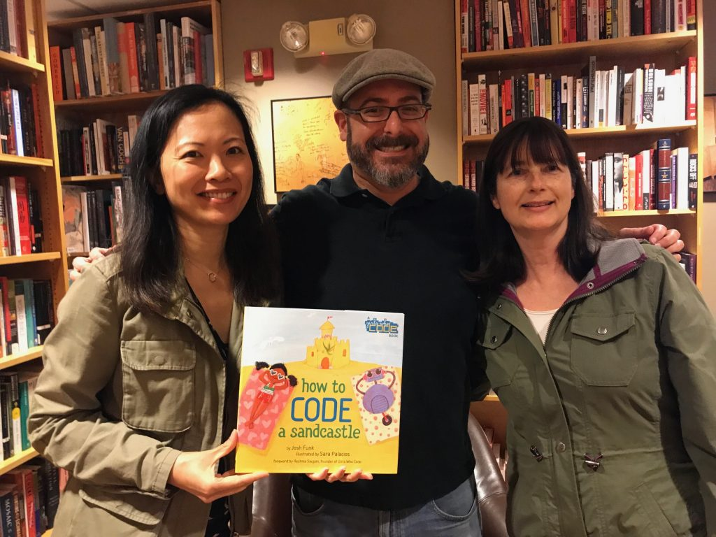 Josh Funk HOW TO CODE A SANDCASTLE book launch with Jannie Ho, Jaqueline Davies