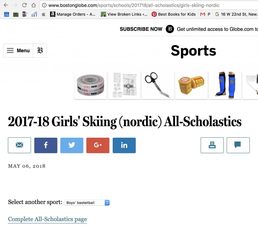 Boston Globe Newton North High School Nordic Team Ali Lee 2017-2018