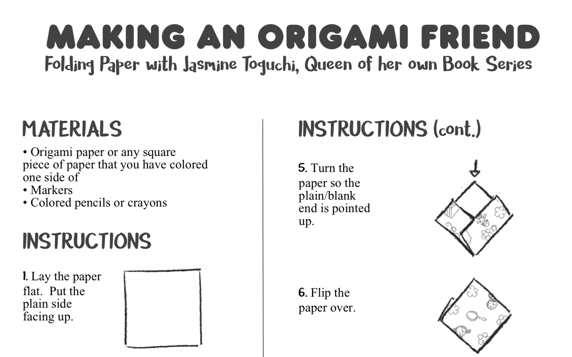 easy origami doll activity