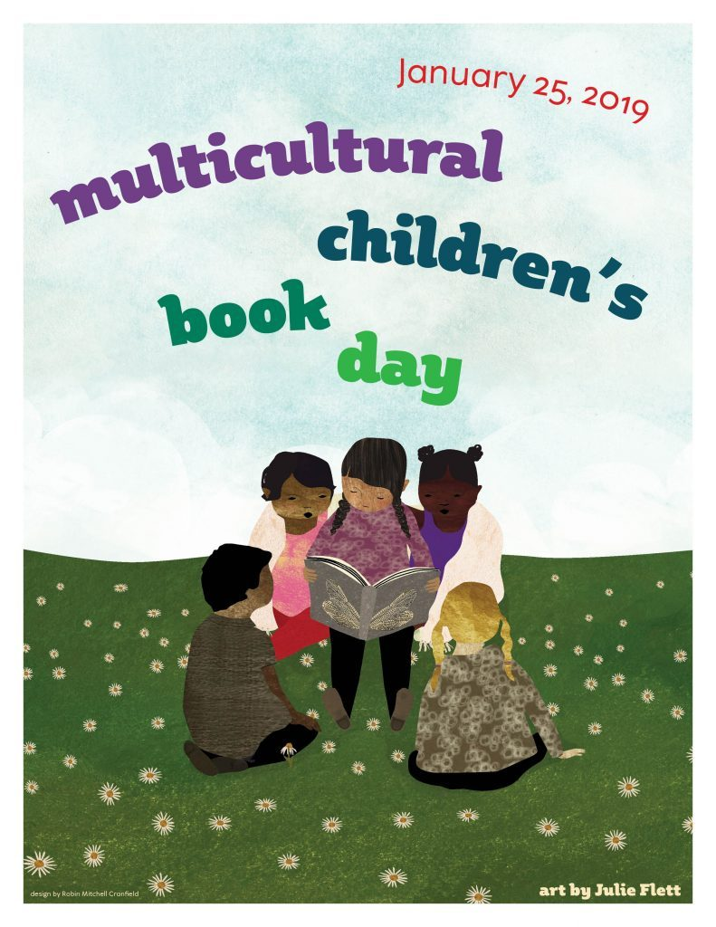 Multicultural Children's Book Day poster with artwork by Julie Flett