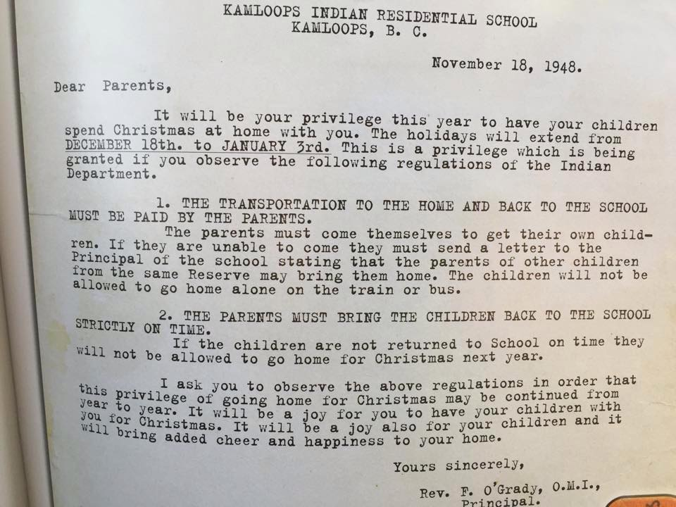 Christmas letter to Indian parents from a Canadian residential school highlighting the racism inherent in the system