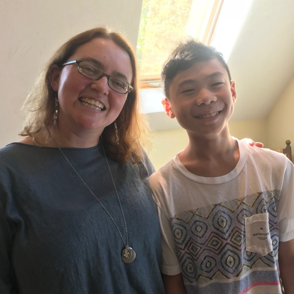 Tui T Sutherland at The Writers' Loft with my son