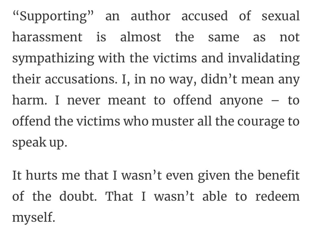 Matt de la Pena blog tour sexual harassment