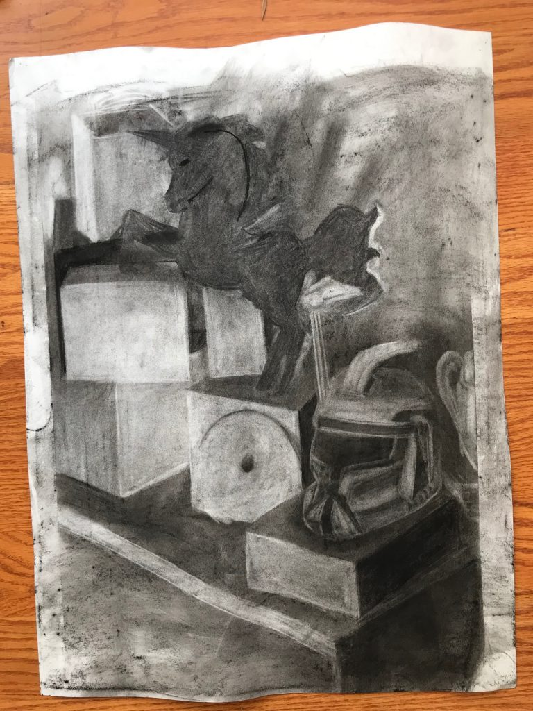 Tai's Charcoal Still Life from Xtreme Week at MassArt