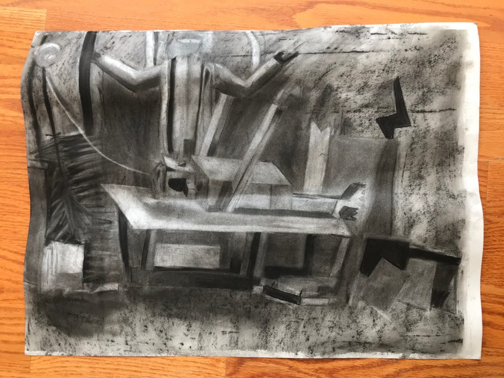 Tai's Charcoal Monster Drawing from a sculpture he built