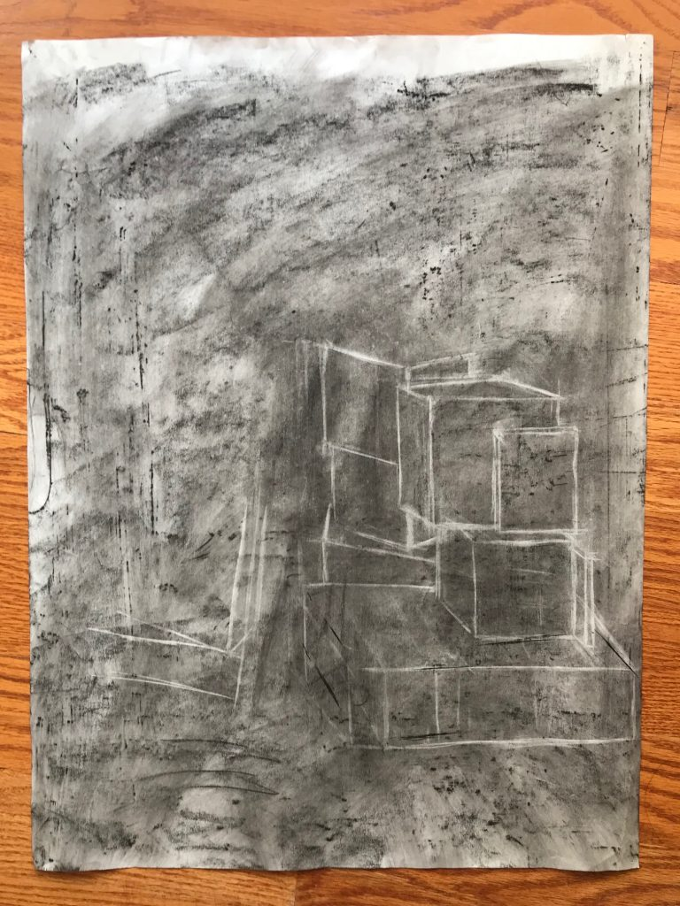 Tai's first charcoal drawing of boxes
