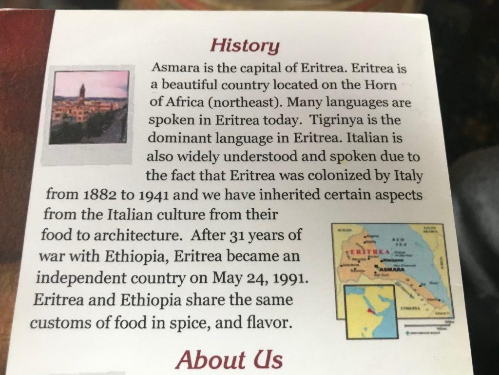 Asmara Restaurant: history of Eritrea