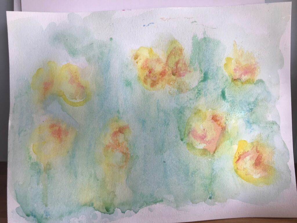 chalk and watercolor Monet Waterlily art project for kids