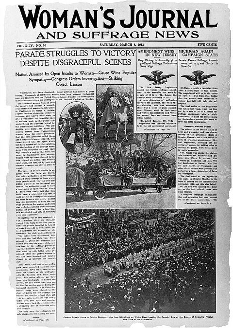 March 8, 1913 front page of the Woman's Journal and Suffrage News depicting the Woman Suffrage Parade of 1913