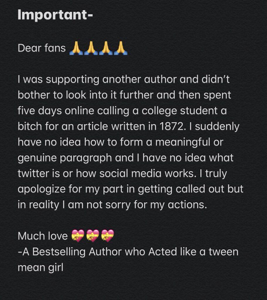 Sarah Dessen apology