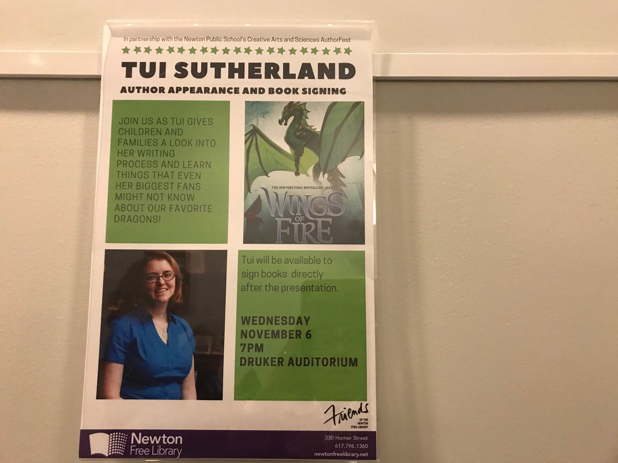 Tui T Sutherland at Newton Free Library