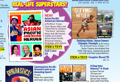 Scholastic flyers and Asian Pacific American Heroes