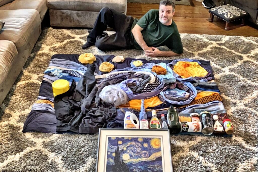 Starry Night recreated from household items