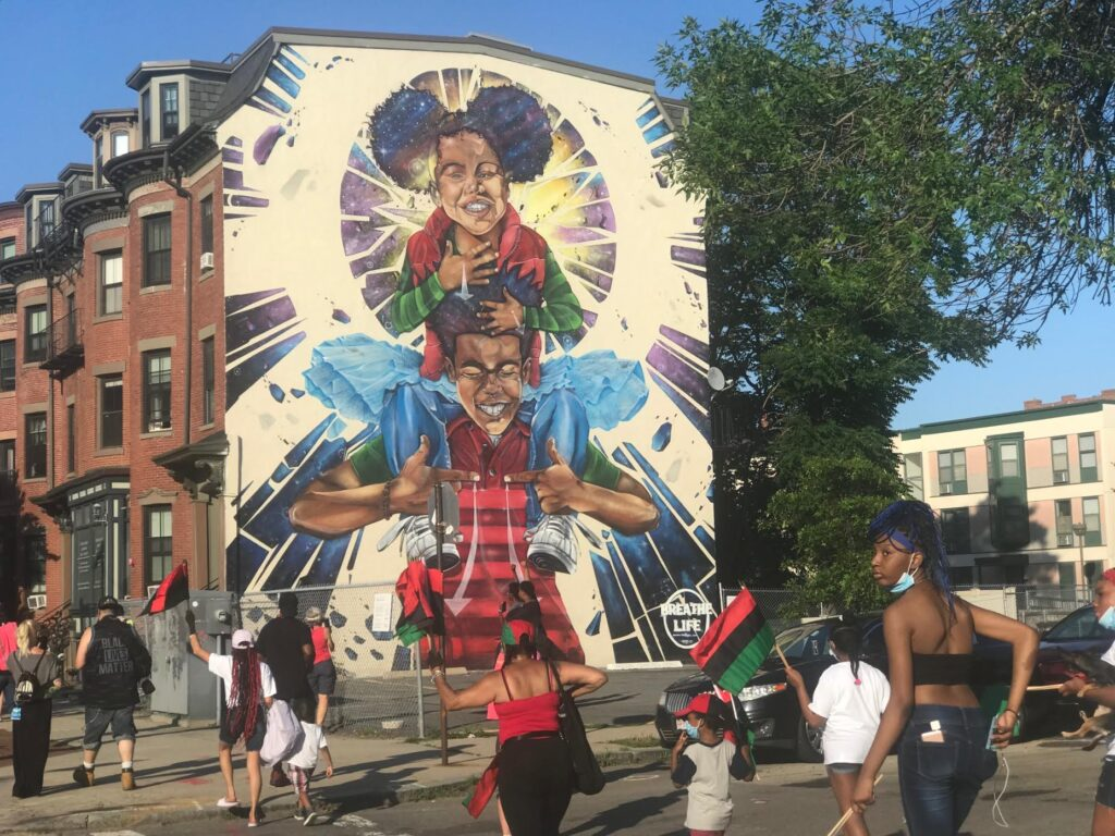 Roxbury-native Problak (Rob Gibbs) comes home with Breathe Life 3 a new mural at 808 Tremont Street