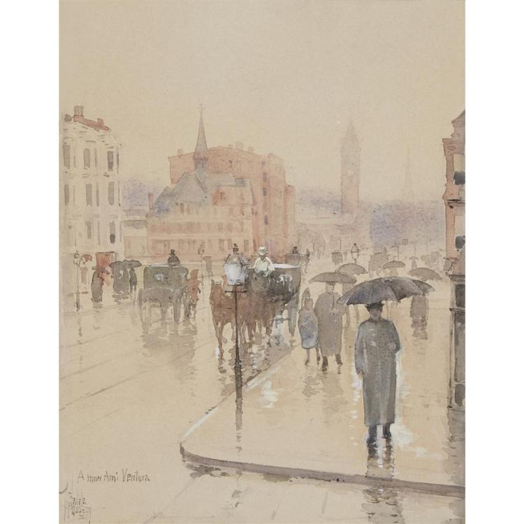 Childe Hassam watercolor Boston
