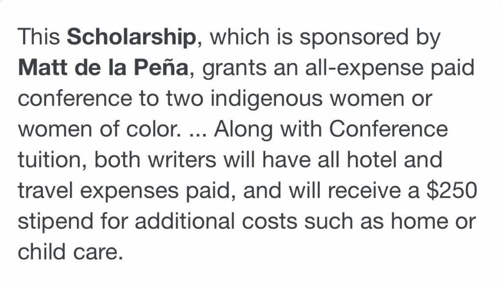 Scbwi: Matt de la Pena scholarship