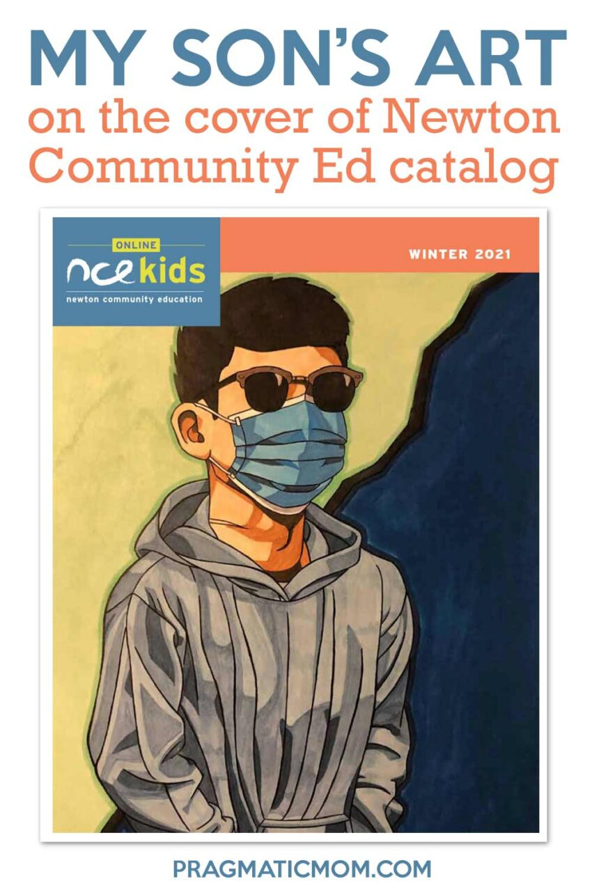 My son's art on the cover of Newton Community Ed catalog!
