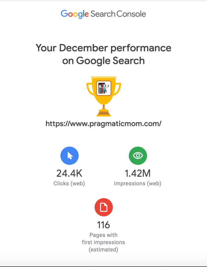 PragmaticMom Google Blog Traffic Stats for December 2020
