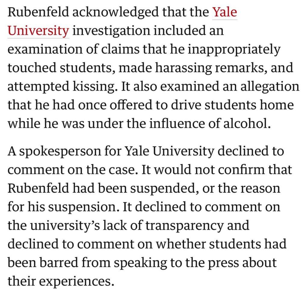 Jeb Rubenfeld sexual harassment allegation