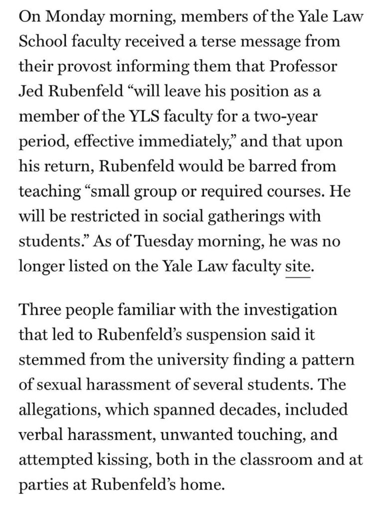 Jeb Rubenfeld sexual harassment