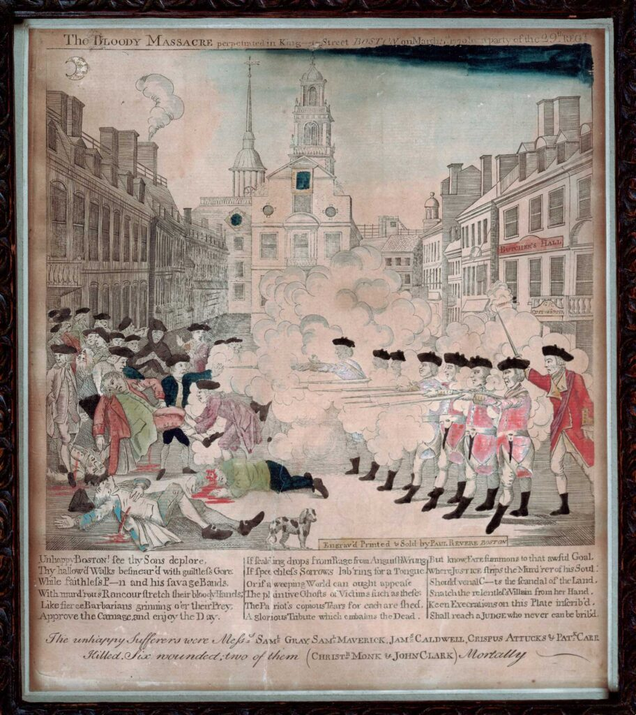 Paul Revere's famous engraving The Bloody Massacre