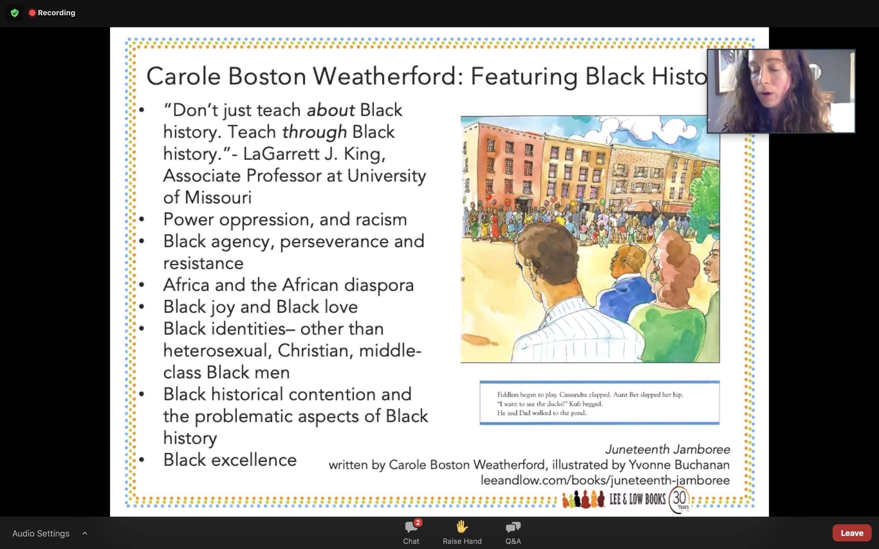 Lee and Low's Teaching about Juneteenth with Children's Books Carole Boston Weatherford